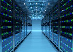 Network and internet telecommunication equipment in server room, data center interior